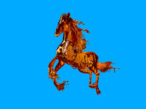 Horse made out of liquid isolated. Running horse made out of streamed liquid like cognac or whiskey brandy etc stock illustration
