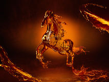Horse made out of liquid whisky. Running horse made out of streamed liquid like cognac or whiskey brandy etc vector illustration