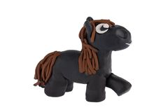 Horse made of plasticine Stock Photos
