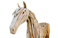 Horse made of scrap wood isolated on white Stock Images