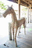 Horse made of scrap wood Stock Photos