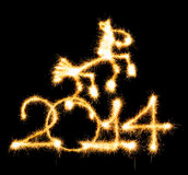 2014 and horse made a sparkler Royalty Free Stock Images