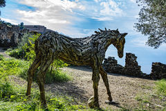 Horse made of wood and landscape Stock Photos