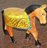 Horse made of wood and painted by hand stock image