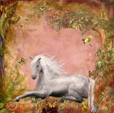 Horse in magic forrest. Fantasy scene for your artistic creations Stock Photo