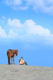 A Horse and Man. Waiting together Stock Images