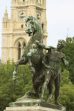 Horse and man statue next to the Vienna Paliament Royalty Free Stock Images