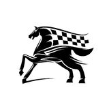 Horse with mane as checkered race flag symbol Royalty Free Stock Photo