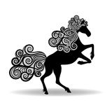 Horse with a mane of curly. Vector illustration Stock Photography