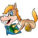 Horse and map. Highly detailed cartoon animal royalty free illustration