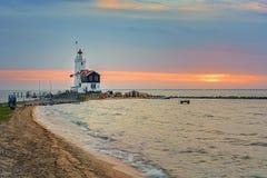"""Horse of Marken Lighthouse IJsselmeer Holland Volendam Netherlan. The Paard van Marken lighthouse, translated as """"Horse of Marken"""", is a famous Dutch Stock Photos"""