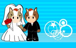 Horse married cartoon background Royalty Free Stock Images