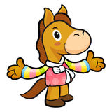 Horse mascot the direction of pointing with both hands. New Year Royalty Free Stock Photography