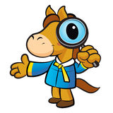 Horse mascot examine a with a magnifying glass. New Year Charact Stock Images