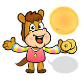 The Horse mascot holding a brass coin. New Year Character Design Stock Photo