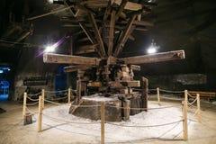 Horse mill in the Salt Mine Salina Turda museum. In Romania stock images
