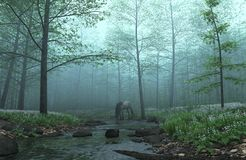 Horse in a Misty Forest. Digital render of a horse drinking at a stream in a misty forest Royalty Free Stock Image