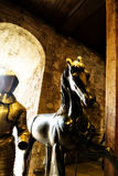 Horse Model Sculpture Statue and Suit of Armour in the Royal Armoury at the Tower of London, London, England, UK Royalty Free Stock Photography