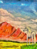 Horse on mountain meadow, original painting and computer post production Stock Photo