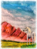 Horse on mountain meadow, original painting and computer post production Stock Images