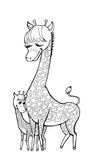 Horse mum. Vector doodle il black lines hand painted mother giraffe with baby, lovely and cute, together Royalty Free Stock Photography