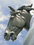 Horse Muzzle. Detail of a statue in front of Musée d'Orsay: an horse muzzle with sky and clouds as background Royalty Free Stock Photography