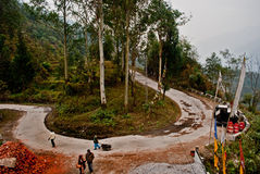 Horse nail bend. Horse nails bend of hilly highway between forests on the way to Yumthang in Sikkim, India Stock Image