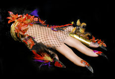 Horse on the nails. Art nail design with acrylic colors and horses on the sharp nails into the net with feathers and beads on a black background royalty free stock photography