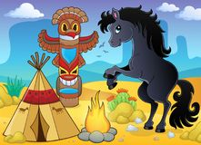 Horse in Native American campsite. Eps10 vector illustration Stock Images