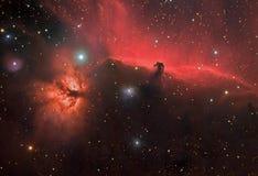 Horse Nebula and Flame Nebula Stock Photos