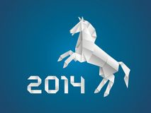 Horse. New year 2014. Celebration card. New year 2014 origami paper horse Royalty Free Stock Image