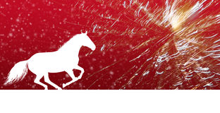 Horse for New Year on red background with fireworks Royalty Free Stock Images