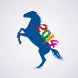 Vector horse with new year 2014 riding numbers. Vector rearing up horse with new year 2014 riding numbers Stock Image