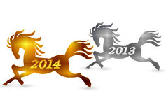 Horse New Year's card 2014. Illustration of New Year's card pretty clean Stock Photos