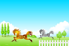 Horse New Years card 2014. Illustration of New Years card pretty clean Royalty Free Stock Images