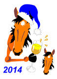 Horse New Years. New Years horse with a champagne glass in a hoof and a cap. separately head of a horse Royalty Free Stock Image