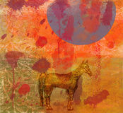 Horse, night, huge moon.4. The horse costs in the light of the moon. Horizontal illustration Stock Photo