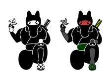 Horse ninja. Knife in hand, two patterns royalty free illustration