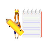 Horse with a notebook and pencil Stock Photos