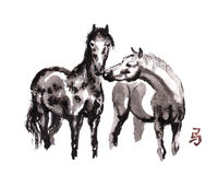 Horse oriental ink painting, sumi-e Royalty Free Stock Image