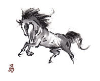 Horse oriental ink painting, sumi-e Stock Photo