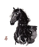Horse oriental ink painting, sumi-e Stock Images