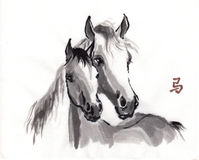 Horse oriental ink painting, sumi-e Stock Photography