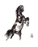 Horse oriental ink painting, sumi-e Royalty Free Stock Images