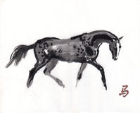 Horse oriental ink painting, sumi-e Royalty Free Stock Photography