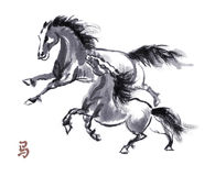 Horse oriental ink painting, sumi-e Royalty Free Stock Photo