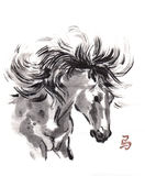 Horse oriental ink painting, sumi-e Stock Image