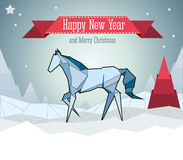 Horse origami. New year card 2014 with oriental sign horse origami Stock Images