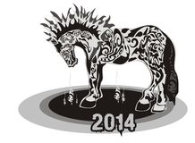 Horse 2014. Ornate horse silhouette on a white background - a symbol of 2014 royalty free illustration