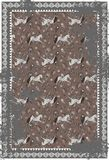 Horse and paisley grey brown vector carpet design. Royalty Free Stock Photography